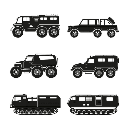 atv: Silhouettes set of the cross-country vehicle on a white background. ATV track collection. Vector illustration
