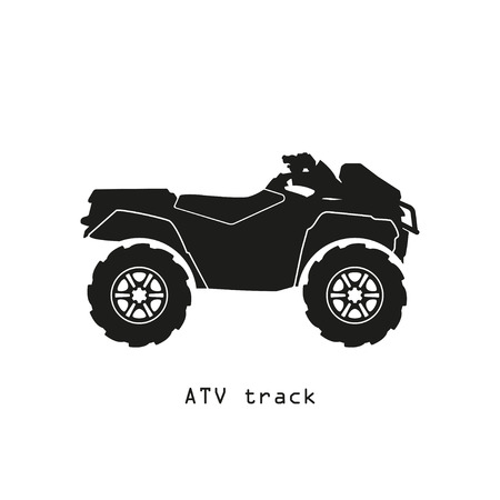 Black silhouette of ATV on a white background. Vector illustration