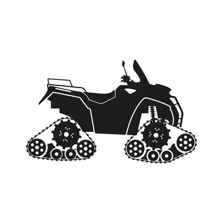 Black silhouette of the all-terrain vehicle on a white background. Vector illustration Illusztráció