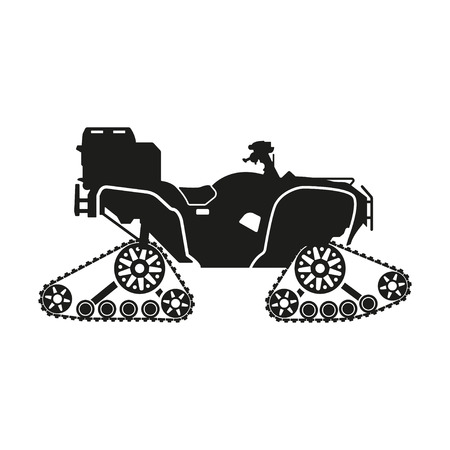 quagmire: Black silhouette of the all-terrain vehicle on a white background. Vector illustration Illustration