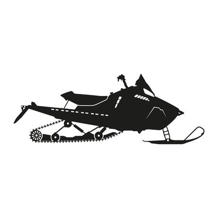 silhouette noire d'une motoneige sur un fond blanc. Vector illustration Vecteurs