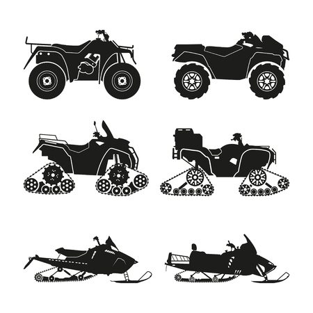 crosscountry: Collection of silhouettes of ATV on a white background. Set cross-country vehicles. Vector illustration Illustration