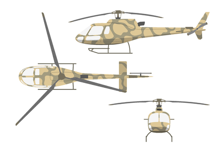 Military helicopter in flat style on white background. Front view , side and top view. Vector illustration