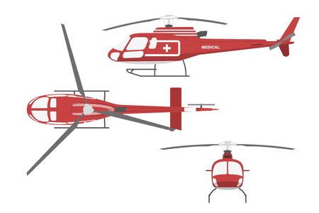 Medical helicopter in flat style on white background. Front view , side and top view. Vector illustration
