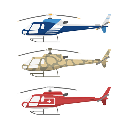 Civil , military and medical helicopters . Side view. Vector illustration