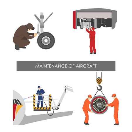 Repair and maintenance of aircraft . Set of aircraft parts in flat style on white background. Vector illustration Çizim