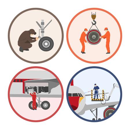 Reparación y mantenimiento de aeronaves. Conjunto de piezas de aviones en el estilo plano sobre fondo blanco. Imágenes en círculos. ilustración vectorial