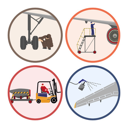 Set of images . Mechanic repairing an airplane. Repair and maintenance of aircraft. Vector illustration 向量圖像