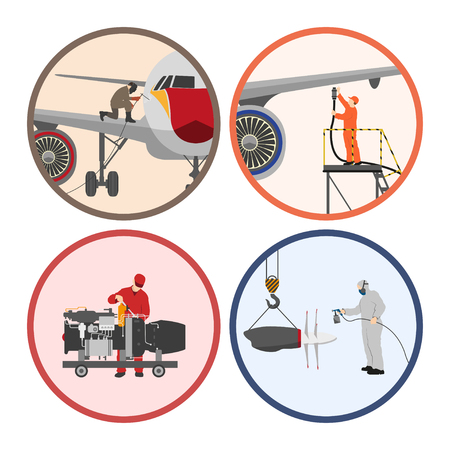 Set of images . Mechanic repairing an airplane. Repair and maintenance of aircraft. Vector illustration Illustration
