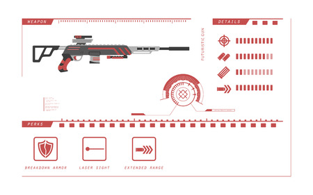 Details of gun: sniper rifle. Game perks. Virtual reality weapon. Vector illustration Illustration