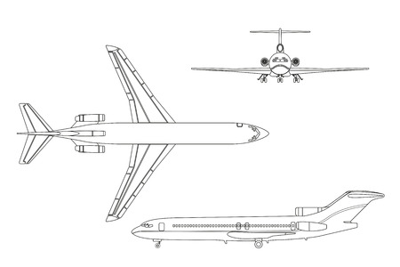 Outline drawing plane on a white background. Top, front , side view. Vector illustration Illustration