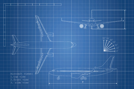 Outline drawing plane on a blue background. Top, side and front view. Vector illustration