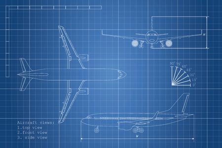 Overzichtstekening vliegtuig op een blauwe achtergrond. Boven-, zij- en vooraanzicht. Vector illustratie