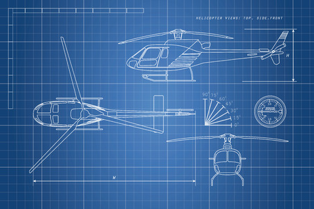 delineation: Engineering drawing helicopter on a blue background. Three views: top, side, front. Vector illustration Illustration