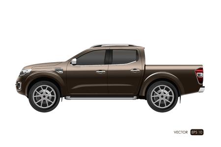 白い背景の上のオフロード車。現実的なスタイルで茶色のピックアップ トラックのイメージ。ベクトル図  イラスト・ベクター素材