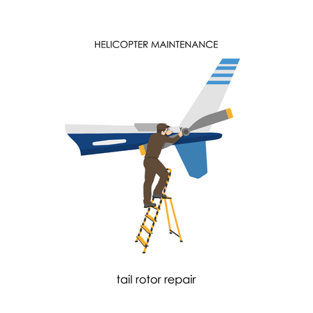rotor: Repair and maintenance of helicopters. Repair of tail rotor. Vector illustration