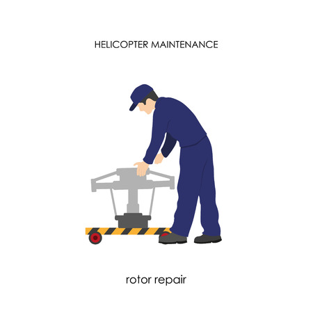 rotor: Repair and maintenance of helicopters. Repair of the main rotor. Vector illustration
