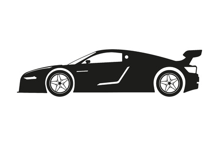 bolid: Black silhouette of a sports car on a white background. Vector illustration Illustration