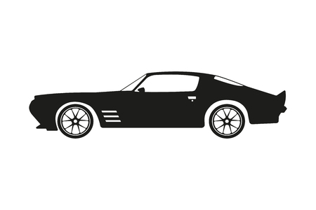 Black silhouette of a sports car on a white background. Vector illustration Illustration