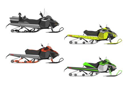 Set ou motoneiges sur fond blanc. Transport pour les sports d'hiver extrêmes. Illustration vectorielle Vecteurs