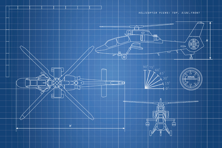 Engineering drawing of helicopter. Helicopters view: top, side, front. Vector illustration