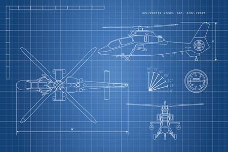 Dibujo de ingeniería de helicóptero. Vista de helicópteros: parte superior, lateral, frontal. Ilustración vectorial