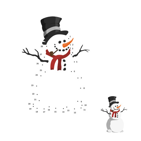 Numbers game for children. Dot to dot education game. Snowman in top hat. Vector illustration