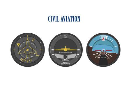 indicadores de control de aviones y helicópteros. El panel de instrumentos en un estilo plano sobre un fondo blanco. ilustración vectorial Ilustración de vector
