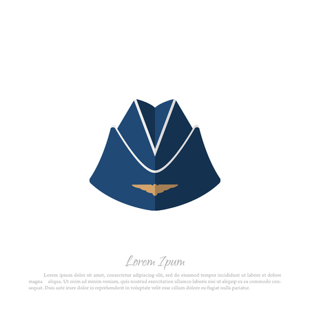 headgear: Headgear stewardess civil aircraft. Drawing in a flat style on a white background. Vector illustration