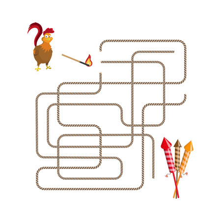 lost child: Christmas games: maze. Help choose the rooster run salute. Vector illustration