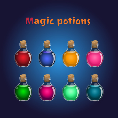 phial: Set if magic potions. Collections of elixirs for the game interface. Vector illustration