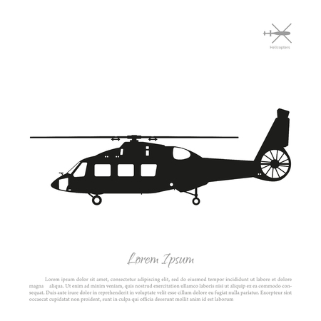 vehicle combat: Black helicopter silhouette on a white background. Side view. Vector illustration Illustration
