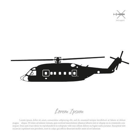 Black helicopter silhouette on a white background. Side view. Vector illustration Illustration