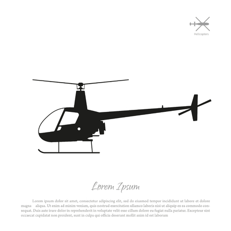 piloting: Black helicopter silhouette on a white background. illustration Illustration
