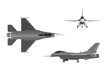 The image of military aircraft. Three views of airplane: top, side, front. illustration Illustration