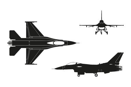 Silhouette noire d'un avion militaire sur fond blanc. Haut, côté, vue de face. illustration Vecteurs