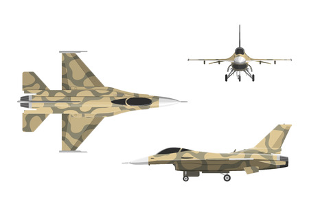War plane in flat style. Military aircraft in top, side, front view. Vector illustration
