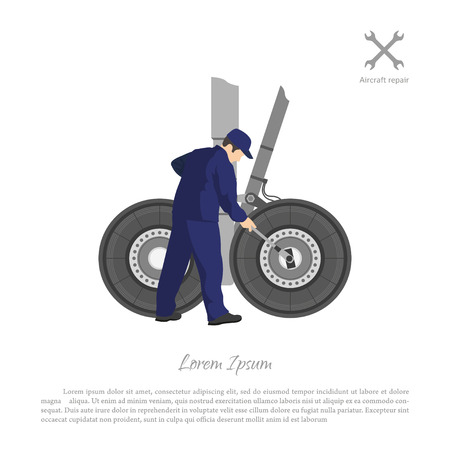 to maintain: Repair and maintenance of aircraft. Engineer repairing airplane landing gear. Vector illustration