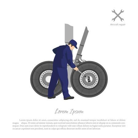 Repair and maintenance of aircraft. Engineer repairing airplane landing gear. Vector illustration