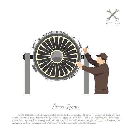 Repair and maintenance of aircraft. Engineer repairing airplane engine. Vector illustration