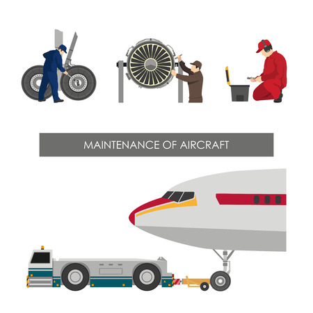 Repair and maintenance of aircraft. Set of images with engineers repairing airplane. illustration Illustration