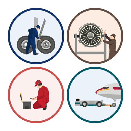 Repair and maintenance of aircraft. Set of images with engineers repairing airplane. Figures in a circle. illustration