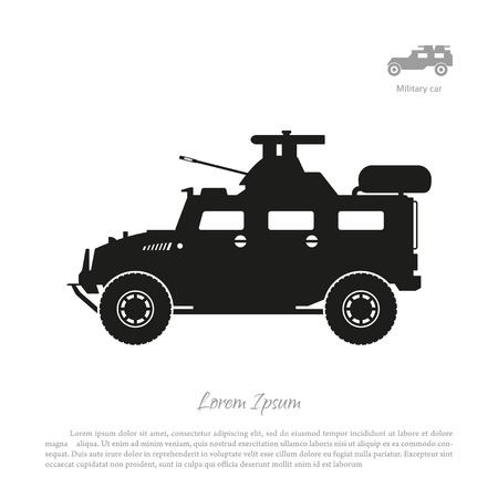 Black silhouette of military car on white background. War SUV in side view. Vector illustration Illustration
