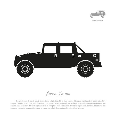 Black silhouette of military car on white background. War SUV in side view. illustration