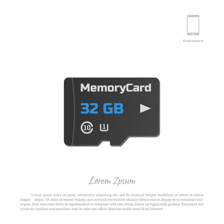 micro drive: Micro SD card. Memory chip on white background. illustration