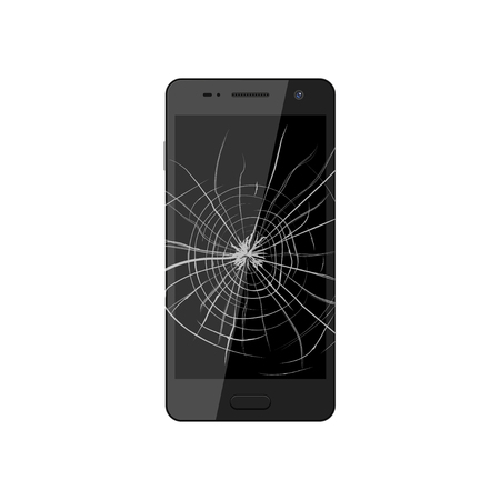 broken screen: Smartphone with broken screen. Crashed phone monitor requires repair. illustration