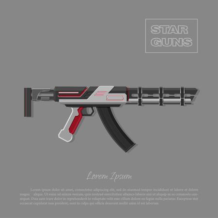 Futuristic machine gun for shooter games. Laser space weapon. Vector illustration Иллюстрация