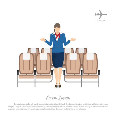 transplants: Stewardess transplants passengers on the seats in the airplane. Woman in uniform. Vector illustration Illustration