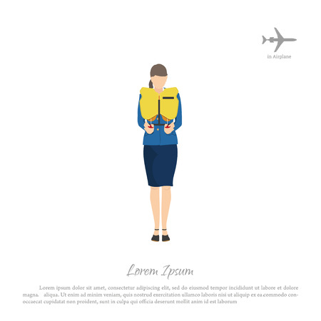 Stewardess passenger trains to use a lifejacket. Woman in uniform on airplane. Vector illustration