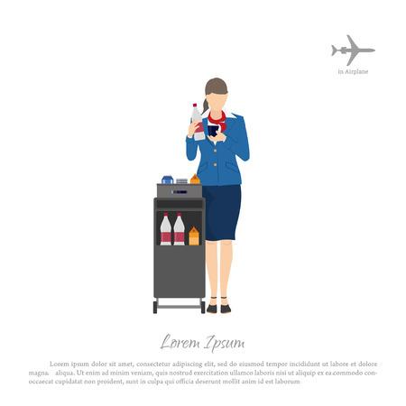 Hôtesse de l'air avec un chariot pour la nourriture et les boissons. Femme en uniforme en avion. Illustration vectorielle Vecteurs